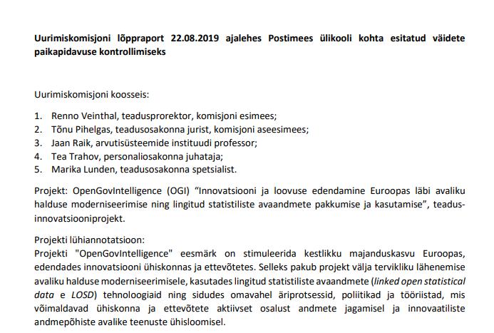 Uurimiskomisjoni lõppraport