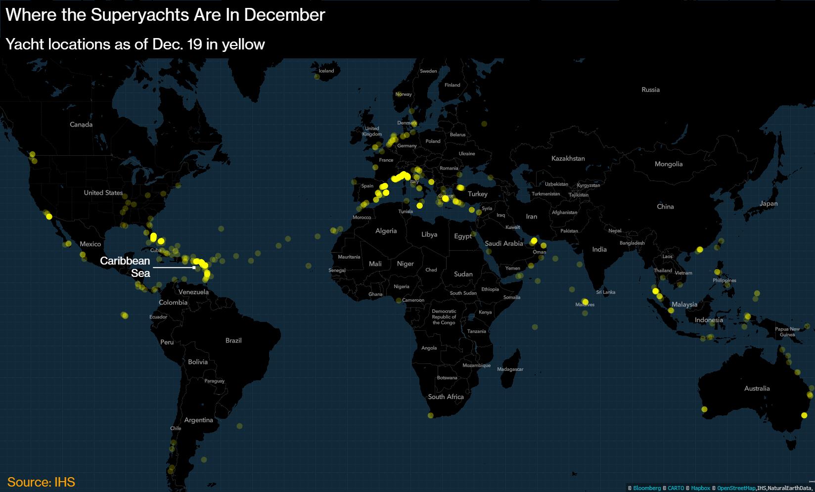 Kuhu olid maailma luksusjahid 19. detsembri seisuga kogunenud.