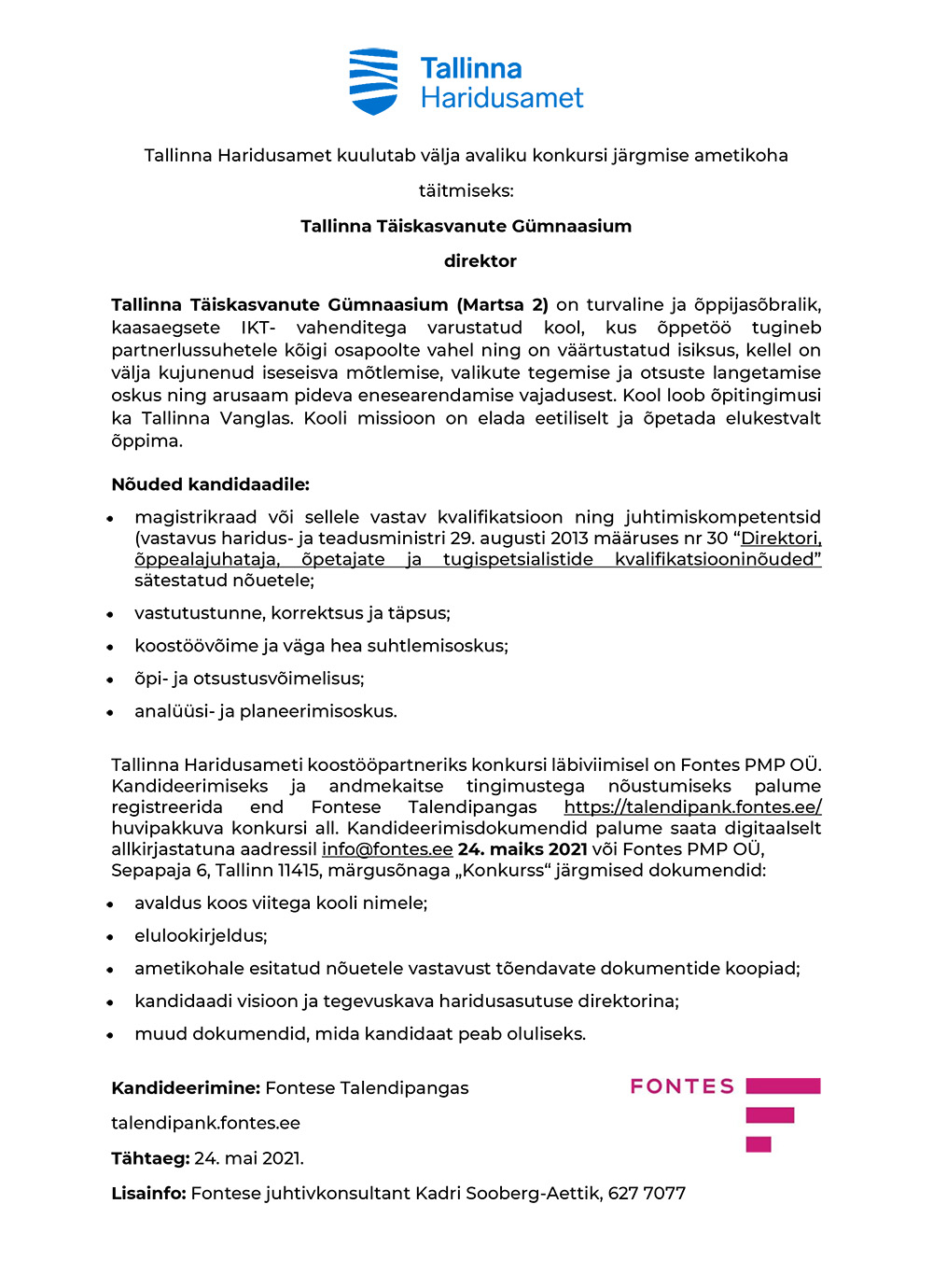TALLINNA TÄISKASVANUTE GÜMNAASIUMI DIREKTOR