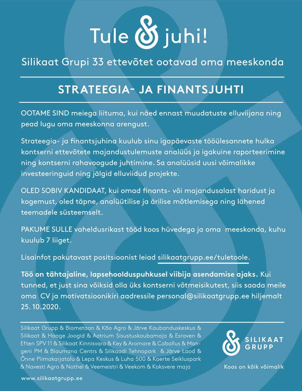 STRATEEGIA- JA FINANTSJUHT