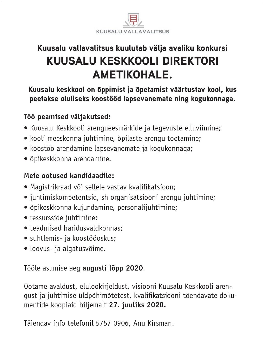 KUUSALU KESKKOOLI DIREKTOR