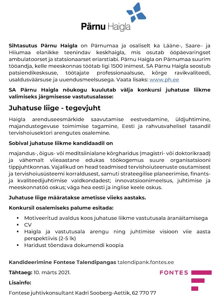 JUHATUSE LIIGE - TEGEVJUHT