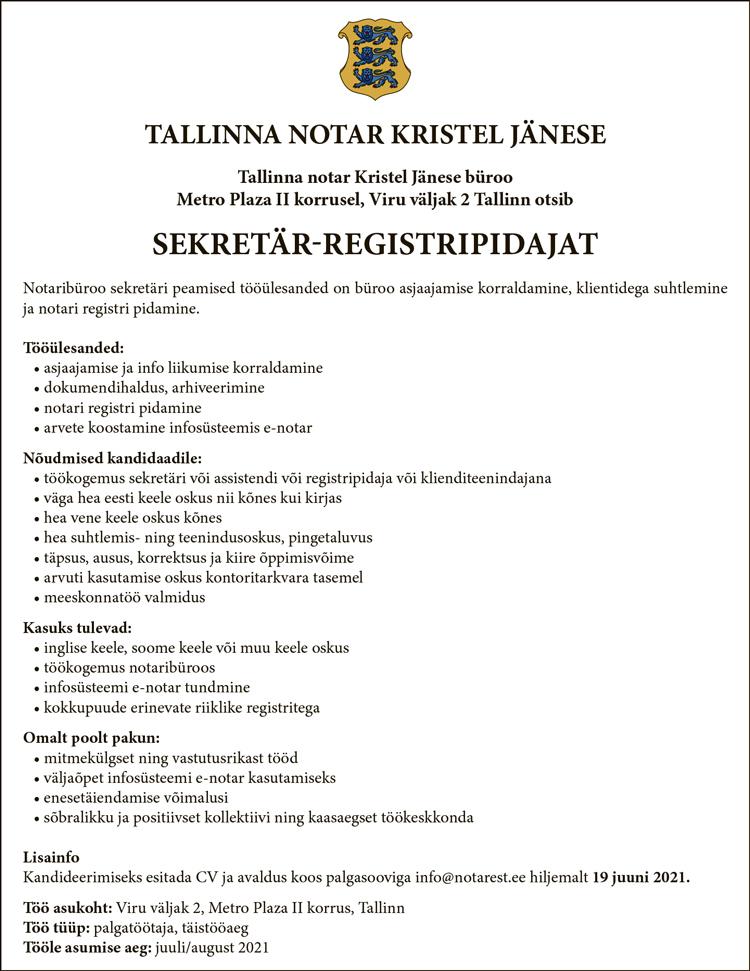 SEKRETÄR-REGISTRIPIDAJA