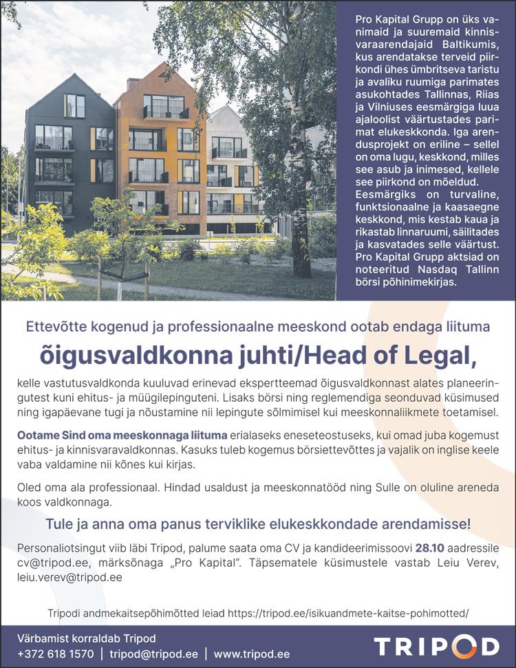 ÕIGUSVALDKONNA JUHT / HEAD OF LEGAL