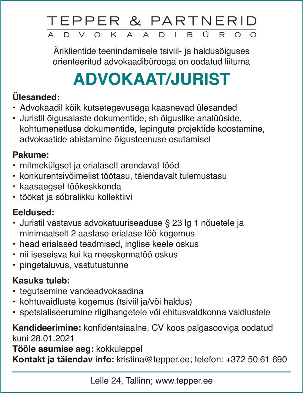 ADVOKAAT/ JURIST