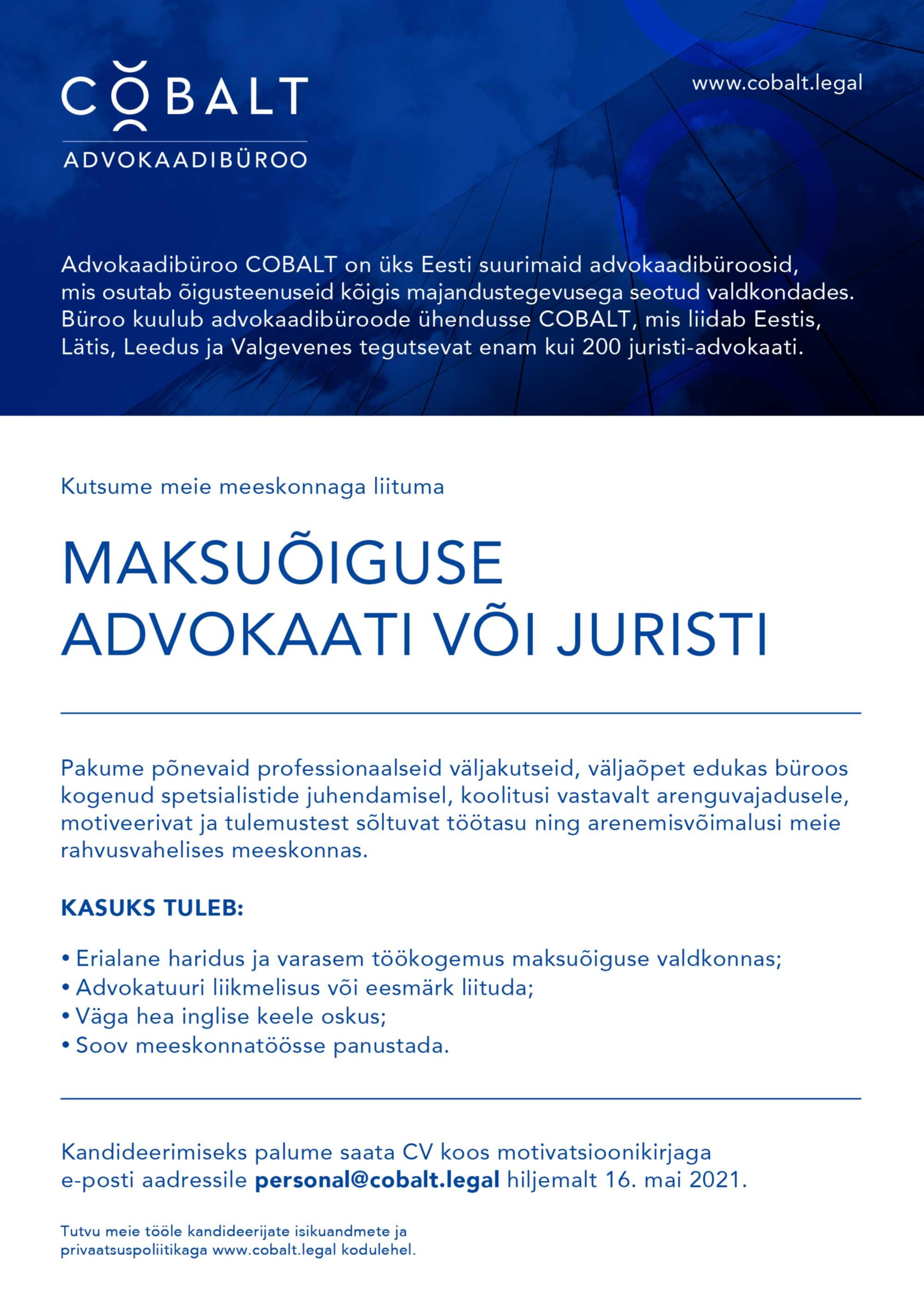 MAKSUÕIGUSE ADVOKAAT/ JURIST