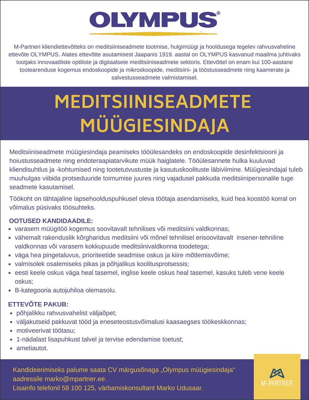 Meditsiiniseadmete müügiesindaja