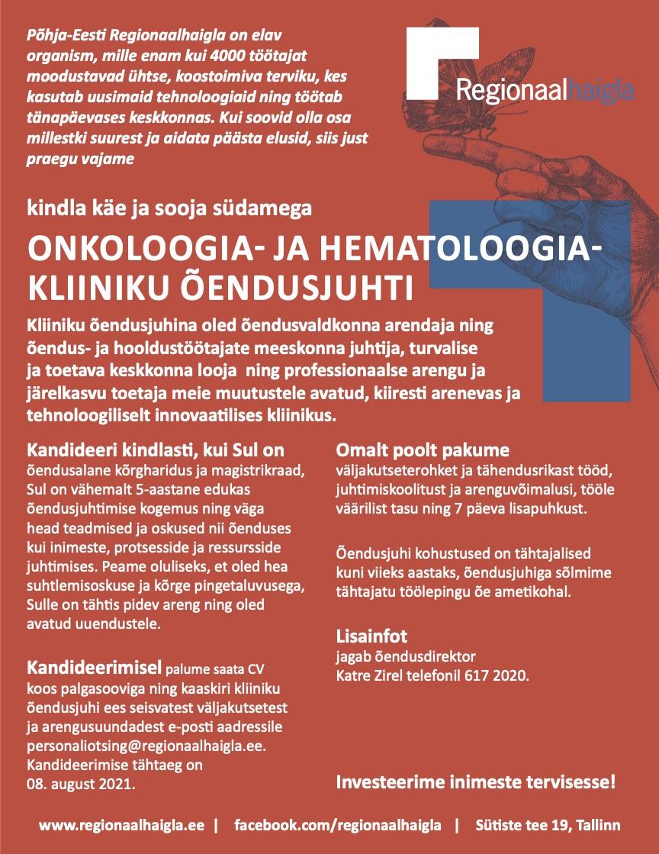 ONKOLOOGIA- JA HEMATOLOOGIAKLIINIKU ÕENDUSJUHT