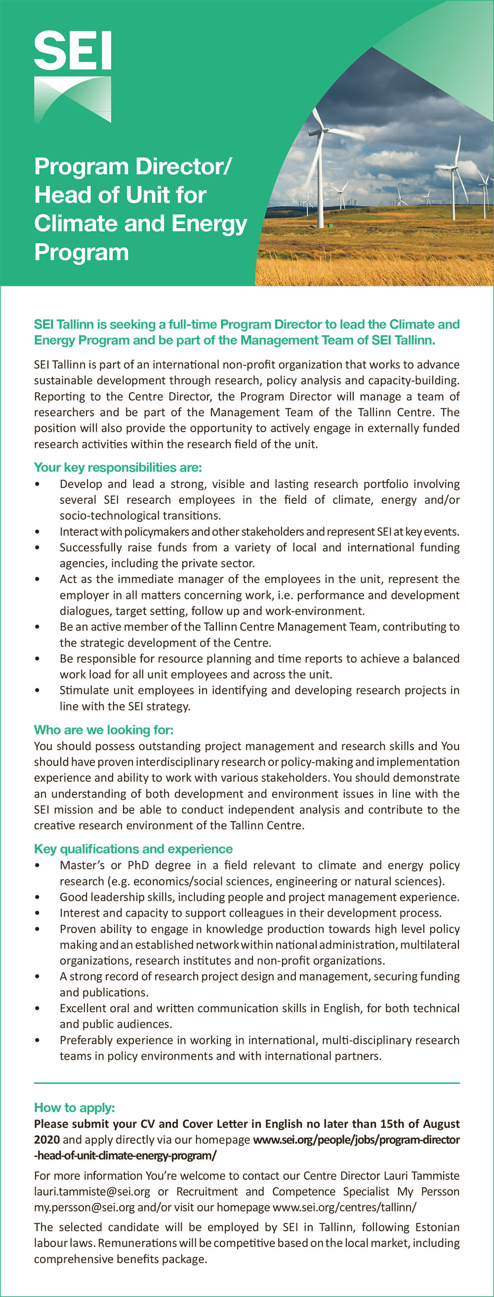 Program Director/ Head of Unit for Climate and Energy program