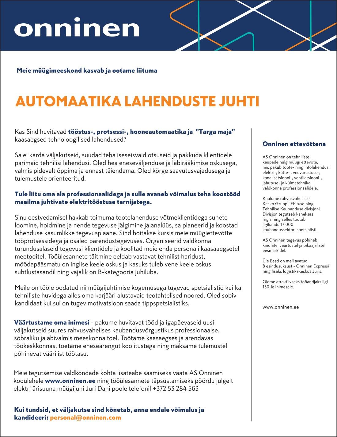 AUTOMAATIKA LAHENDUSTE JUHT