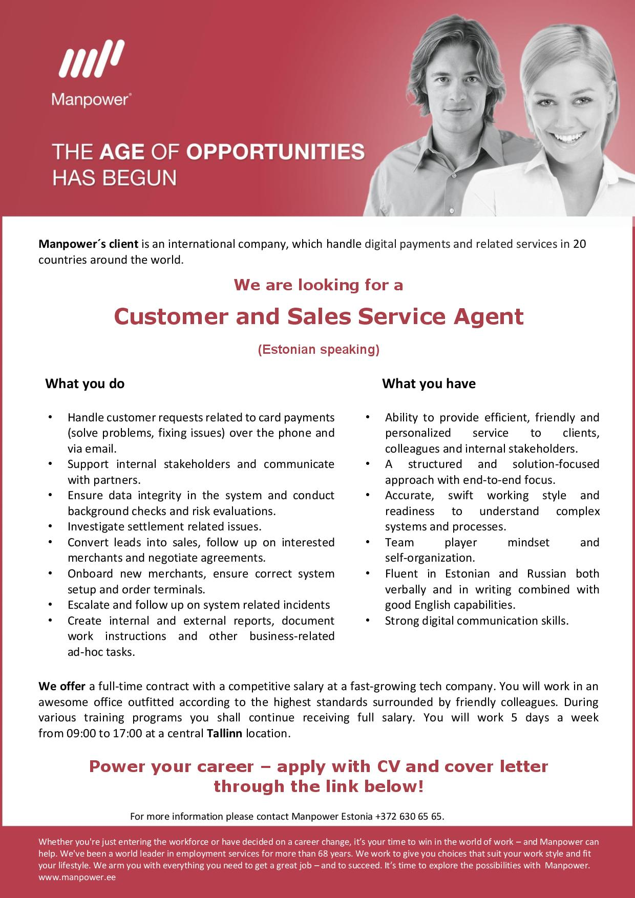 CUSTOMER AND SALES SERVICE AGENT (ESTONIAN SPEAKING)