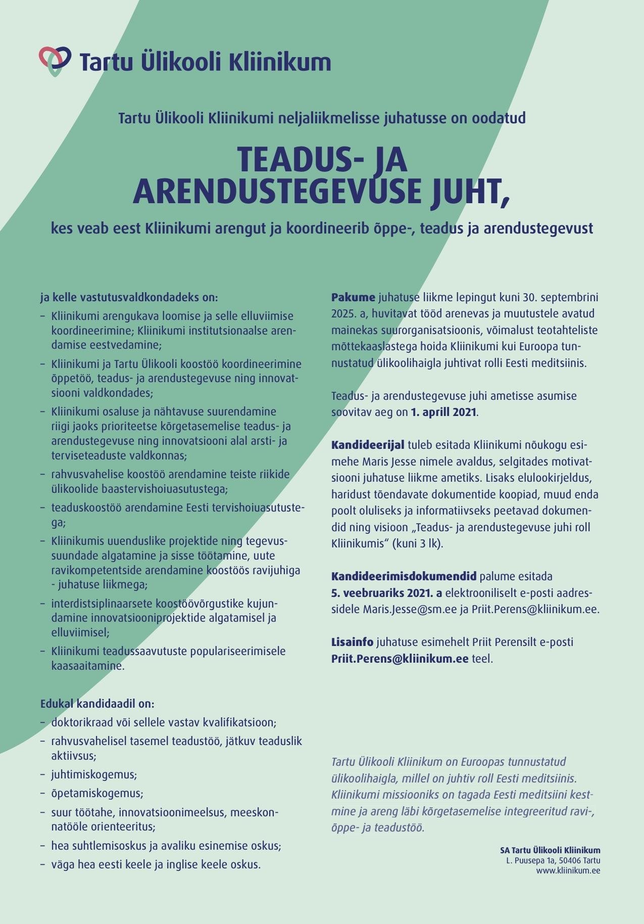 TEADUS- JA ARENDUSTEGEVUSE JUHT