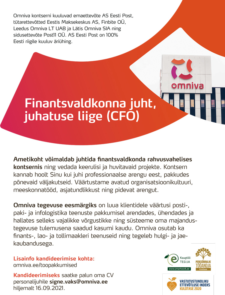 FINANTSVALDKONNA JUHT/ JUHATUSE LIIGE (CFO)