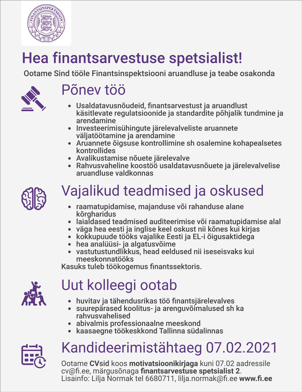 FINANTSARVESTUSE SPETSIALIST