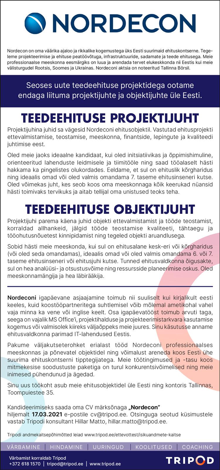 TEEDEEHITUS PROJEKTIJUHT/ TEEDEEHITUSE OBJEKTIJUHT