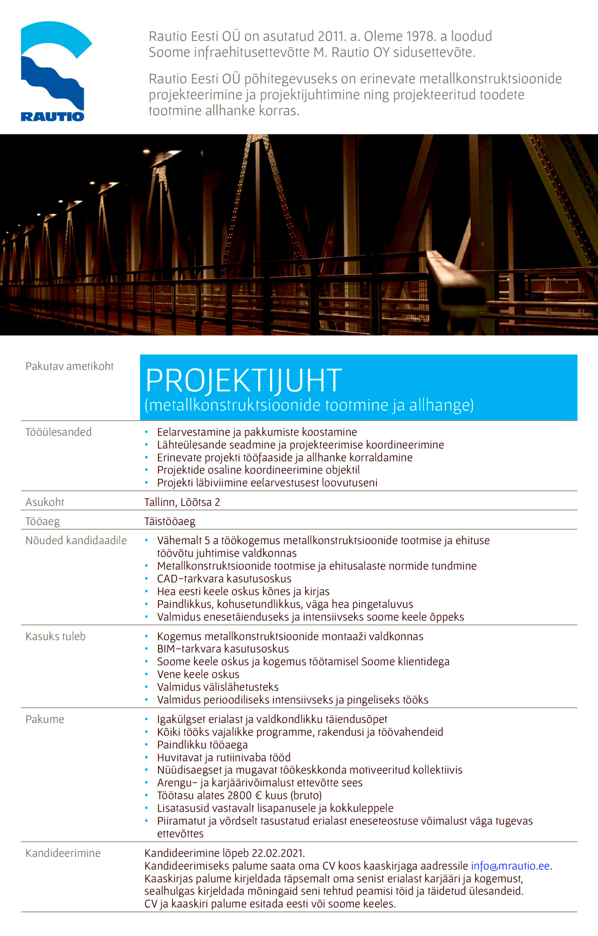 PROJEKTIJUHT (mettallkonstruktsioonide tootmine ja allhange)
