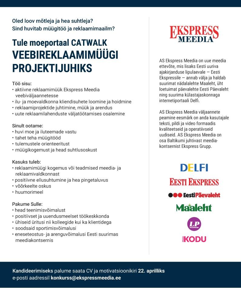 Catwalk.ee veebimüüügi projektijuht